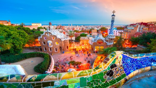 A panoramic view of Gaudi´s Park Guell and the city of Barcelona with the sea.